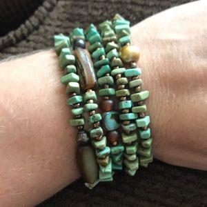 Set of 5 stretchy Silpada bracelets- green/brown